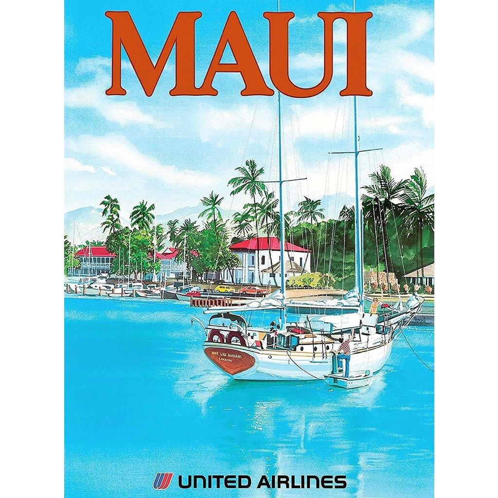 United Airlines Lahaina Maui Print 12 x 18