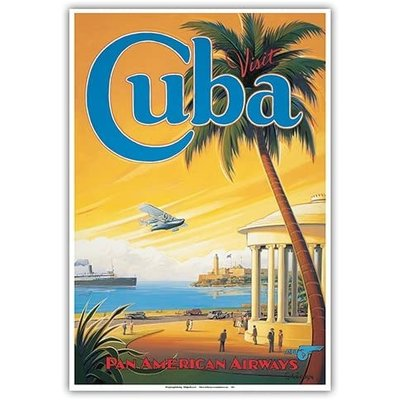 Pan Am Visit Cuba Havana Bay Print 12 x 18