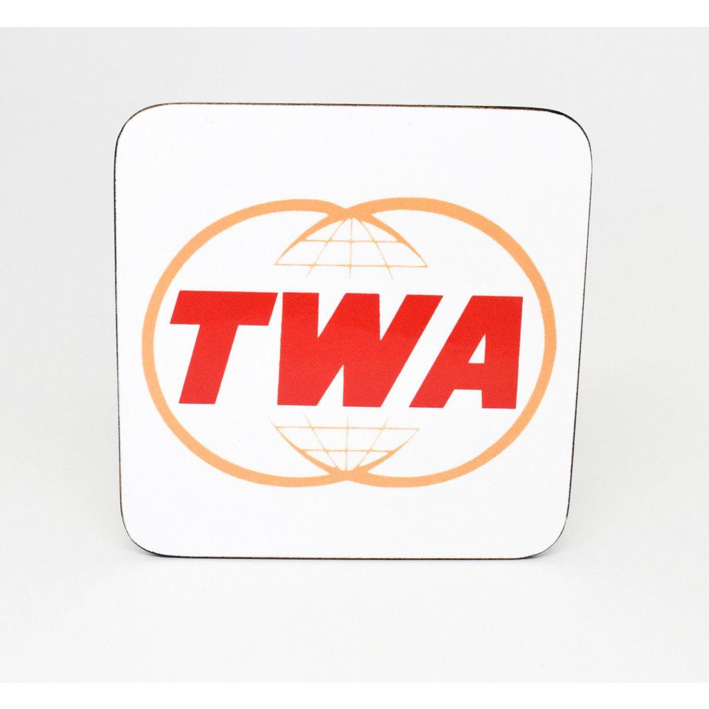 Vintage TWA Twin Globe Logo Coaster