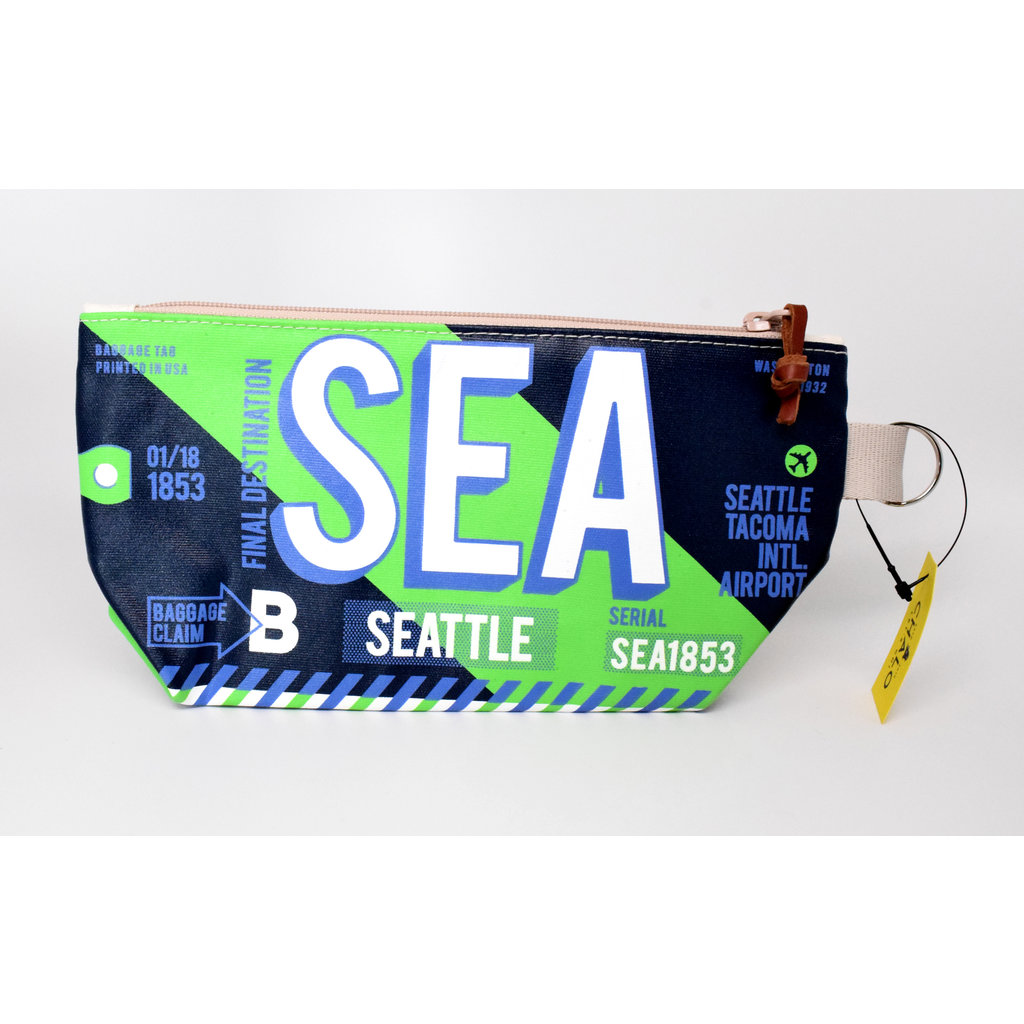 Seattle Luggage Tag Pouch-Navy/Green