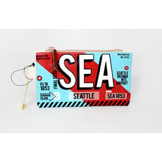 Luggage Tag Diagonal  Red/Blue Small Pouch