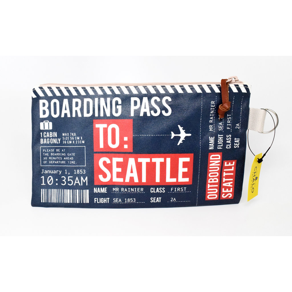 Seattle Boarding Pass Pouch Small- Navy