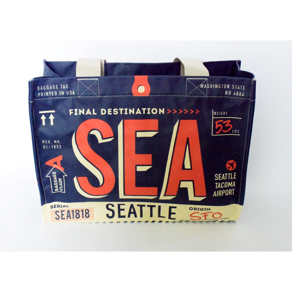 Seattle Luggage Tag  Bag w/Zipper-Navy