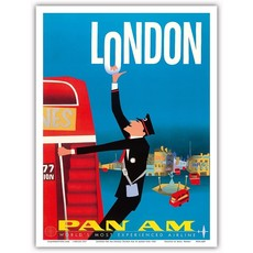 Pan Am London Double Decker 9 x 12 Print