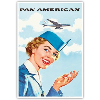 Pan Am American Stewardess Print 9 x 12