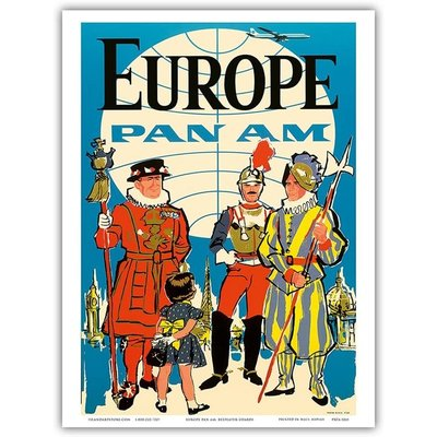 Pan Am Beefeater Guards Europe  Print 9 x 12