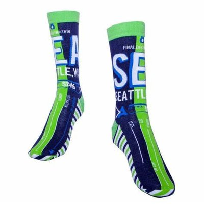 Seattle Luggage Tag Socks-Navy/Green
