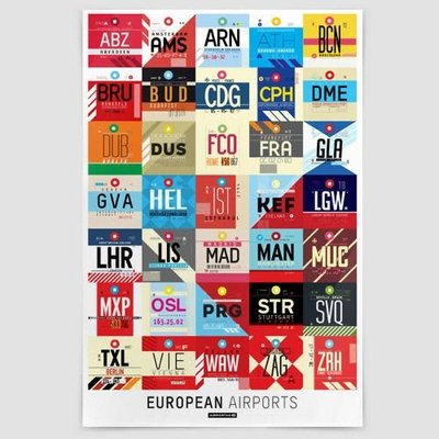 AIRPORTAG European Airports Poster