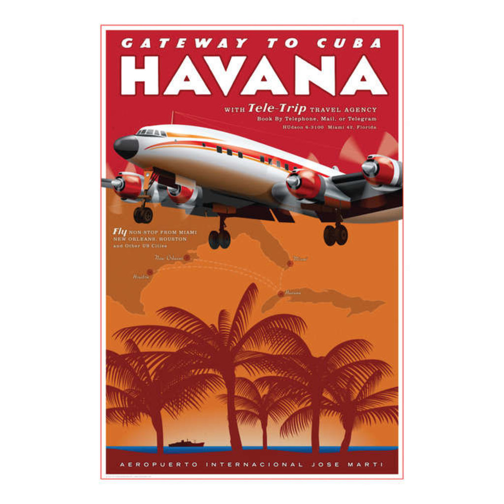 Havana Airport Travel Poster 14 X 20
