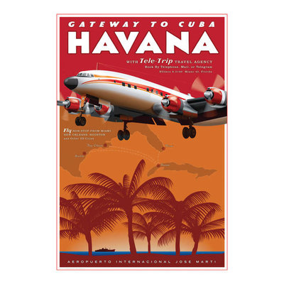 Havana Airport Travel Poster 14 X 20