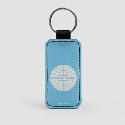 Pan Am Logo Faux Leather Key Chain-Light Blue