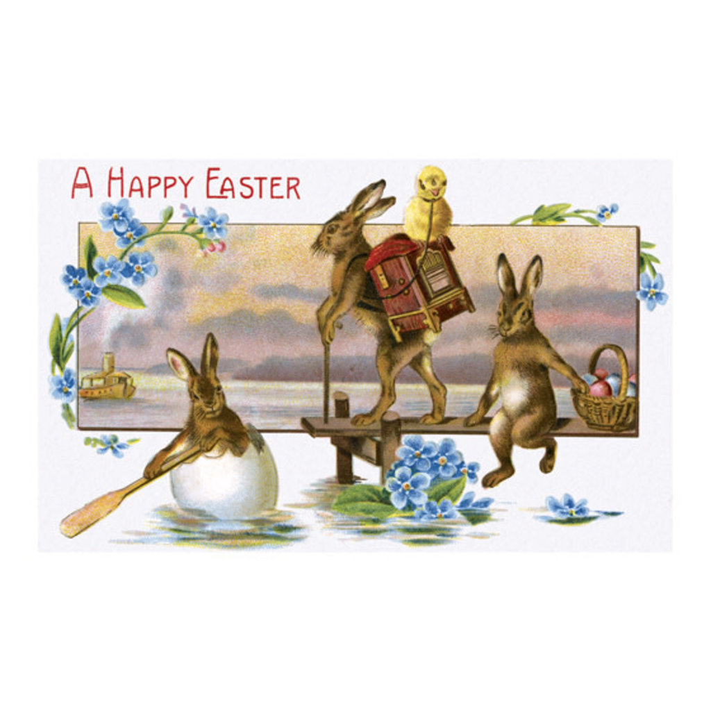 Traveling Easter Rabbits Greeting Card