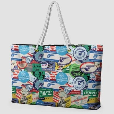 Pan Am Stickers Weekender Bag with Rope Handle