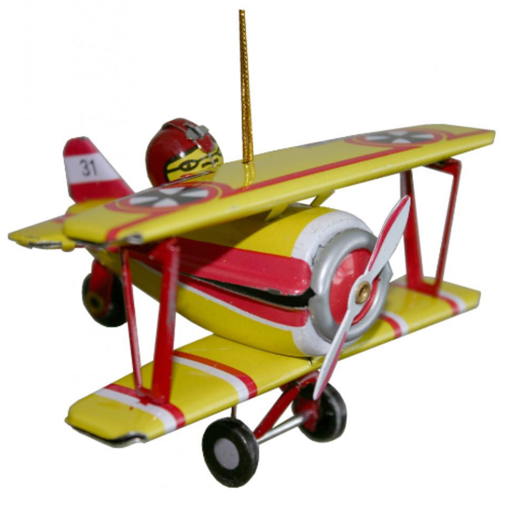 Collectible Tin Ornament - Biplane