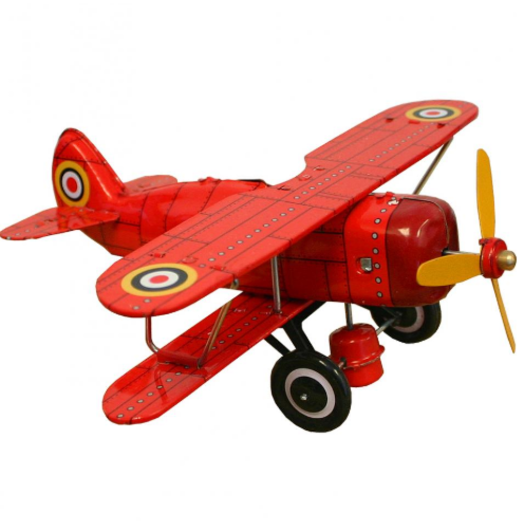 "Collectible Tin Toy - Red ""Curtis"" biplane"