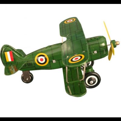 "Collectible Tin Toy - Green ""Curtis"" biplane"