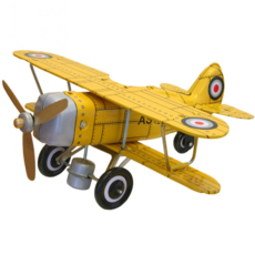 "Collectible Tin Toy - Yellow ""Curtis"" biplane"