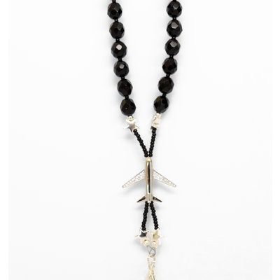 Black faceted beaded lanyard w/Jet Plane