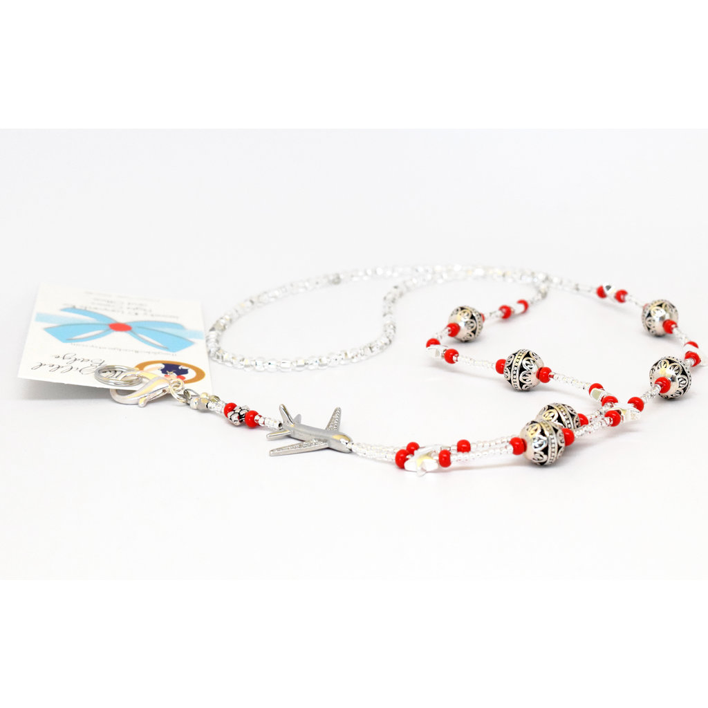GB  Lanyard Red/Silver Swirl w/Jet Plane