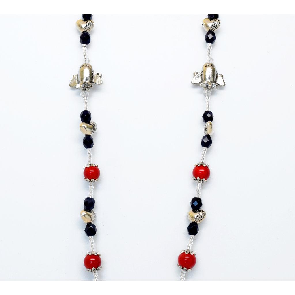 GB Navy/Red Lanyard Crystal