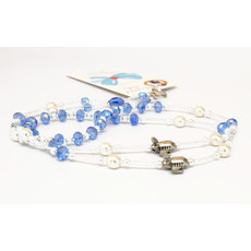GB 2 Plane Blue/white pearl bead  Lanyard