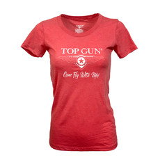 """Top Gun Women's """"Come Fly With Me"""" T-Shirt Red"""
