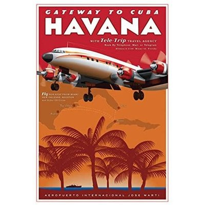 JAA Havana Jet Age Travel Poster 14 X 20