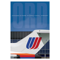 JAA ORD Airport UAL Tail Poster 14 X 20