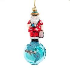 Tourist Santa Glass Ornament