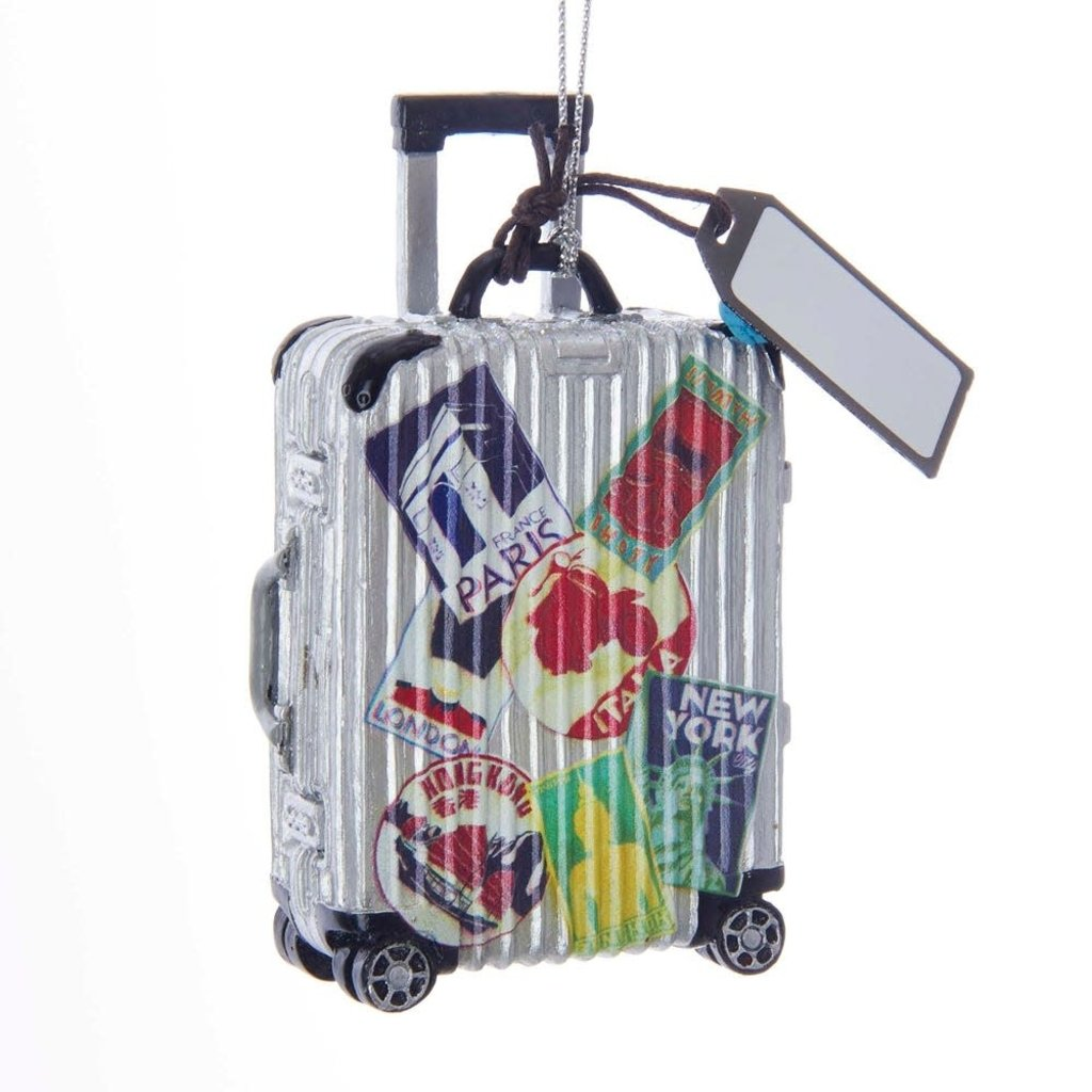 Glass Travel Luggage Ornament For Personalization