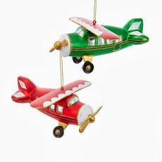 Glass Red and Green With Gold Glitter Airplane Ornaments