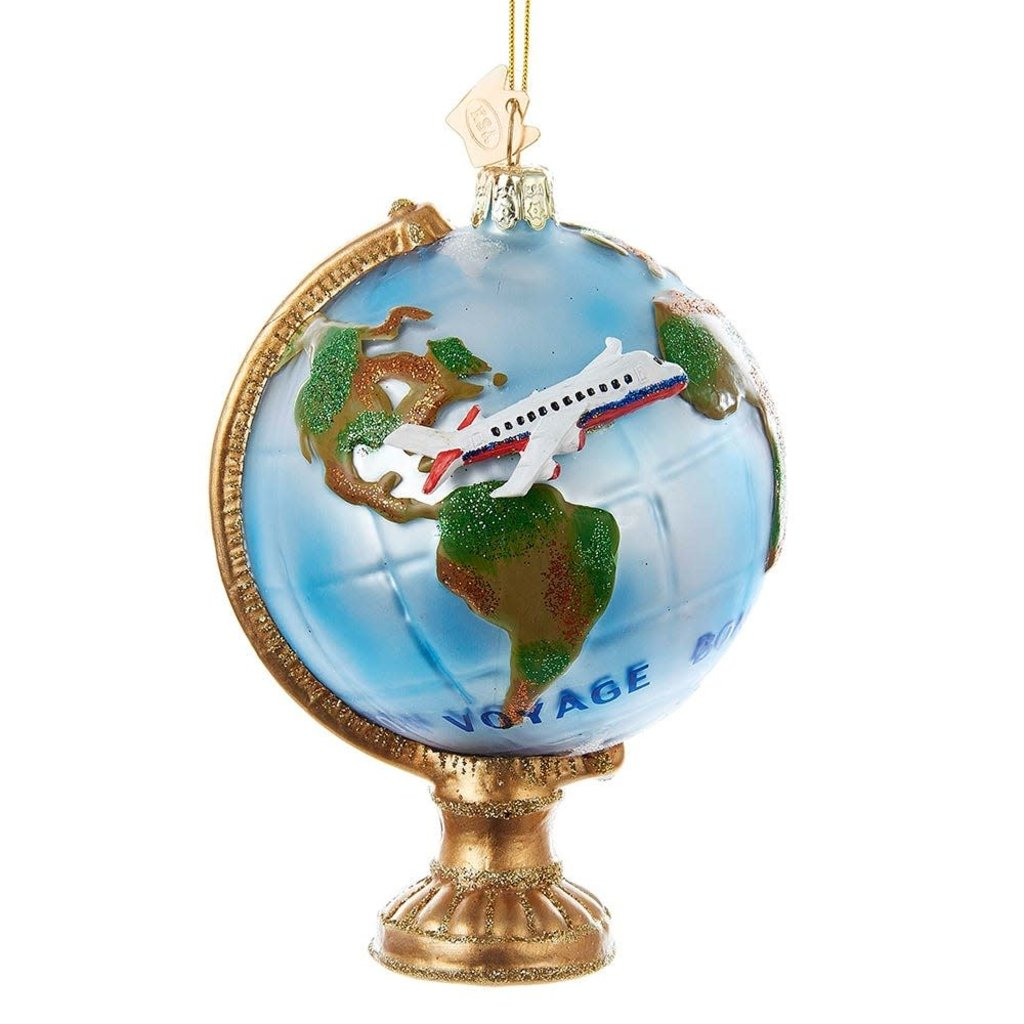 Globe With Airplane Glass Ornament
