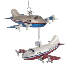 Airplane Glass Ornaments