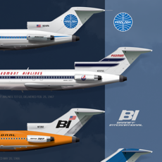 """JAA Classic Boeing 727 All 16 Liveries Art Poster 14"""" x 36"""""""