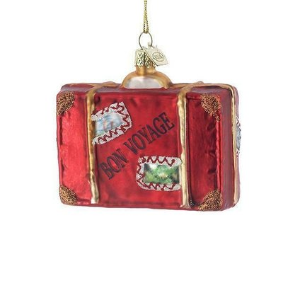 Glass Bon Voyage Suitcase Ornament