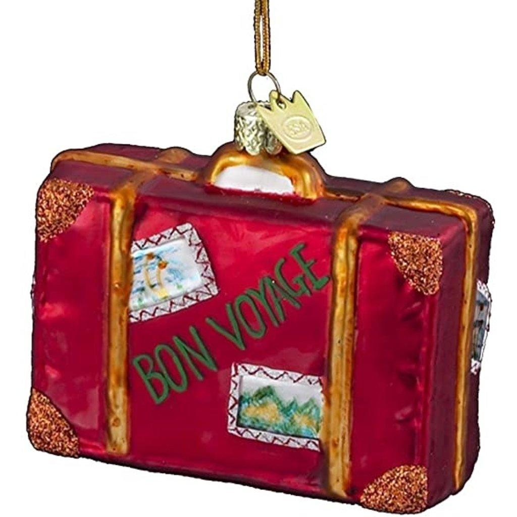 Glass Bon Voyage Suitcase Ornament
