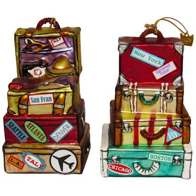 Stacked Suitcase Glass Ornaments
