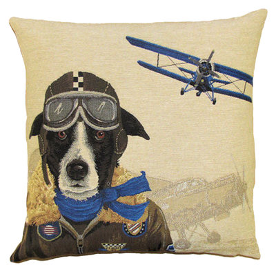 Tapestry Cushion Cover Blue Bomber Pilot