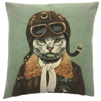 Tapestry Cushion Cover Top Gun Cat