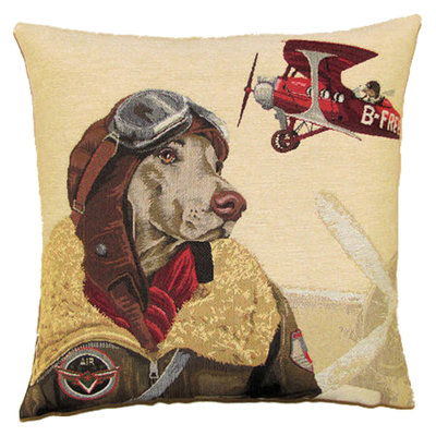 Tapestry Cushion Cover Red Bomber Pilot