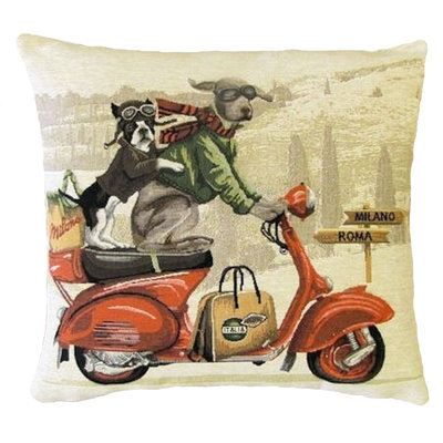 Tapestry Cushion Cover Dogs on Red Scooter