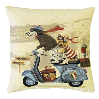 Tapestry Cushion Cover Dogs on Blue Scooter