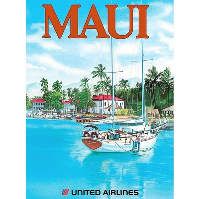 United Airlines Lahaina Maui Print 9 x 12