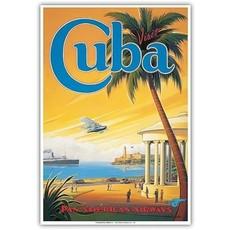 Pan Am Visit Cuba Havana Bay Print 9 x 12