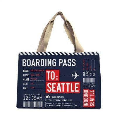 Boarding Pass Bag-Navy w/ zipper