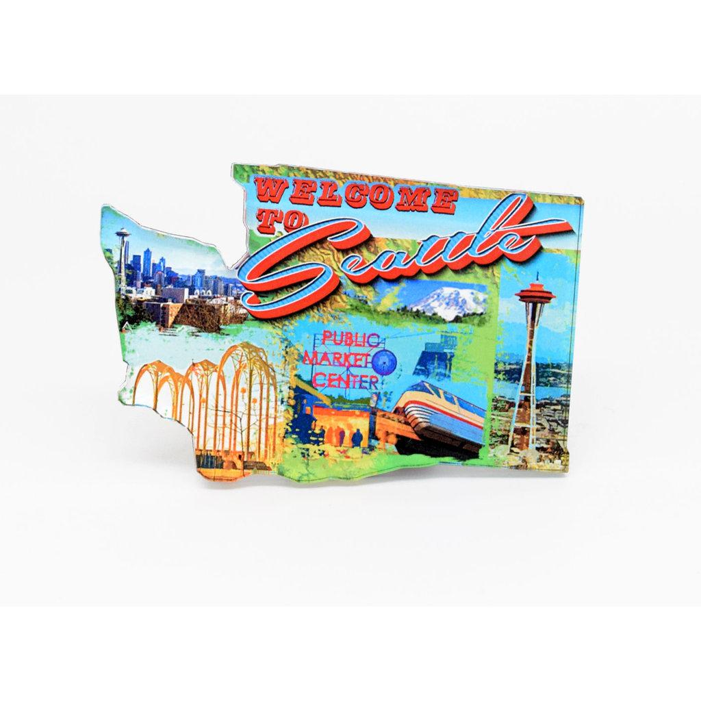 Acrylic Seattle Retro Magnet