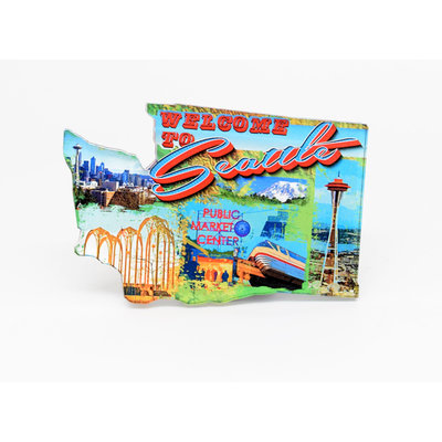 Acrylic Seattle Retro Magnet