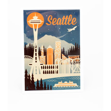 Seattle Retro Skyline Magnet