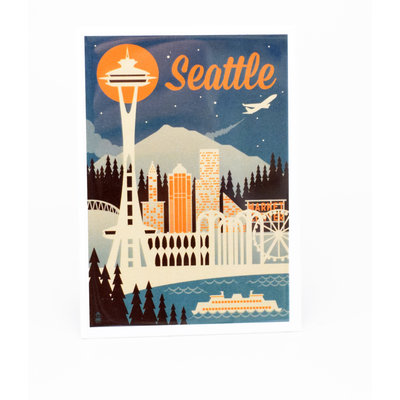 Seattle Retro Skyline Magnet