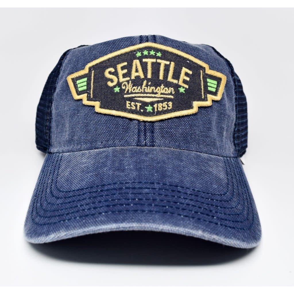 Seattle Vintage Wing Trucker Cap Navy